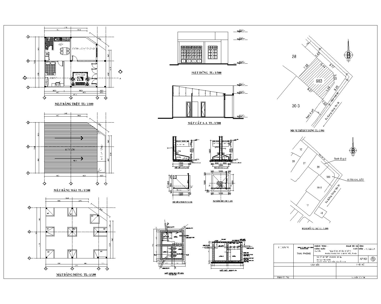 Bản vẻ xin phép xây dựng nhà cấp 4 mái tole 1 tầng