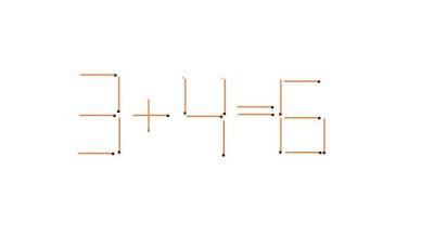 تأمل في الصورة و حرك عود ثقاب واحد لتصبح المعادلة صحيحة