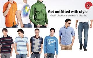 Great Discount- Flat 60% OFF on Men's Clothing @ Flipkart
