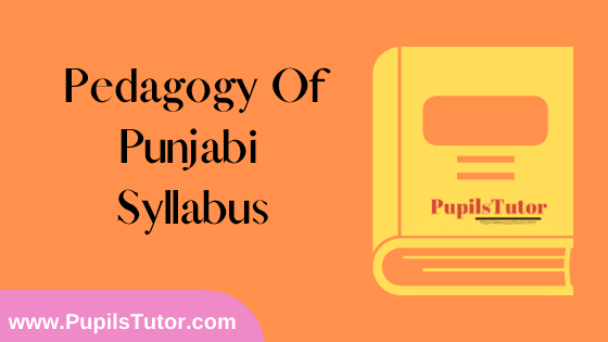 Pedagogy Of Punjabi Syllabus, Course Content, Unit Wise Topics And Suggested Books For B.Ed 1st And 2nd Year And All The 4 Semesters Free Download PDF