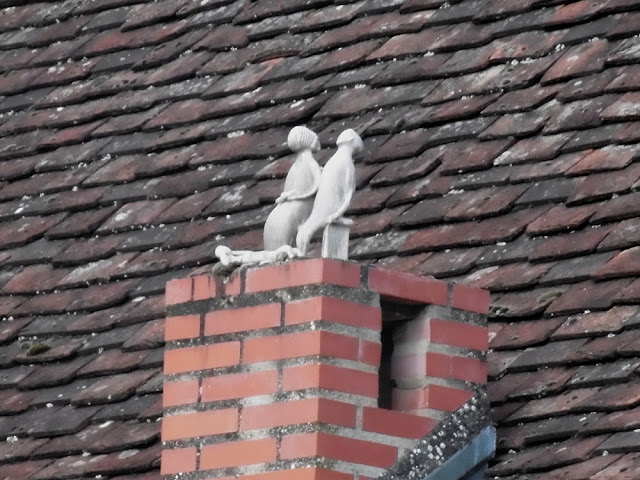 Ceramic figurines on a chimney, Chambon. Indre et Loire. France. Photo by Loire Valley Time Travel.