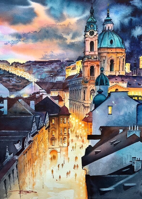 04-Prague-Igor-Dubovoy-A-Love-for-Travelling-and-Realistic-Watercolour-Paintings-www-designstack-co