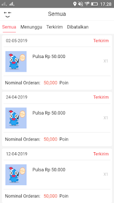 Bukti Pembayaran dari Aplikasi Imeme Android