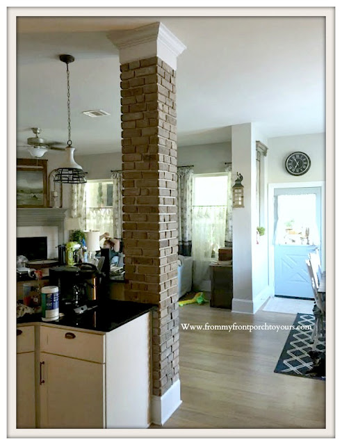 DIY Brick Project-French-Country-Farmhouse-Adding-Character-Thin-Brick-Kitchen-Column-From My Front Porch To Yours