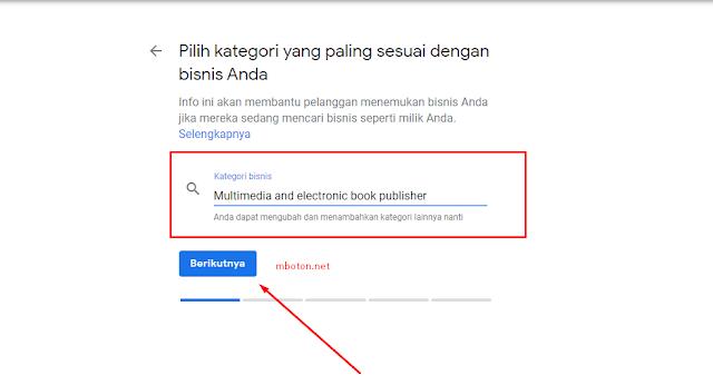 Pilih kategori Google Bisnisku