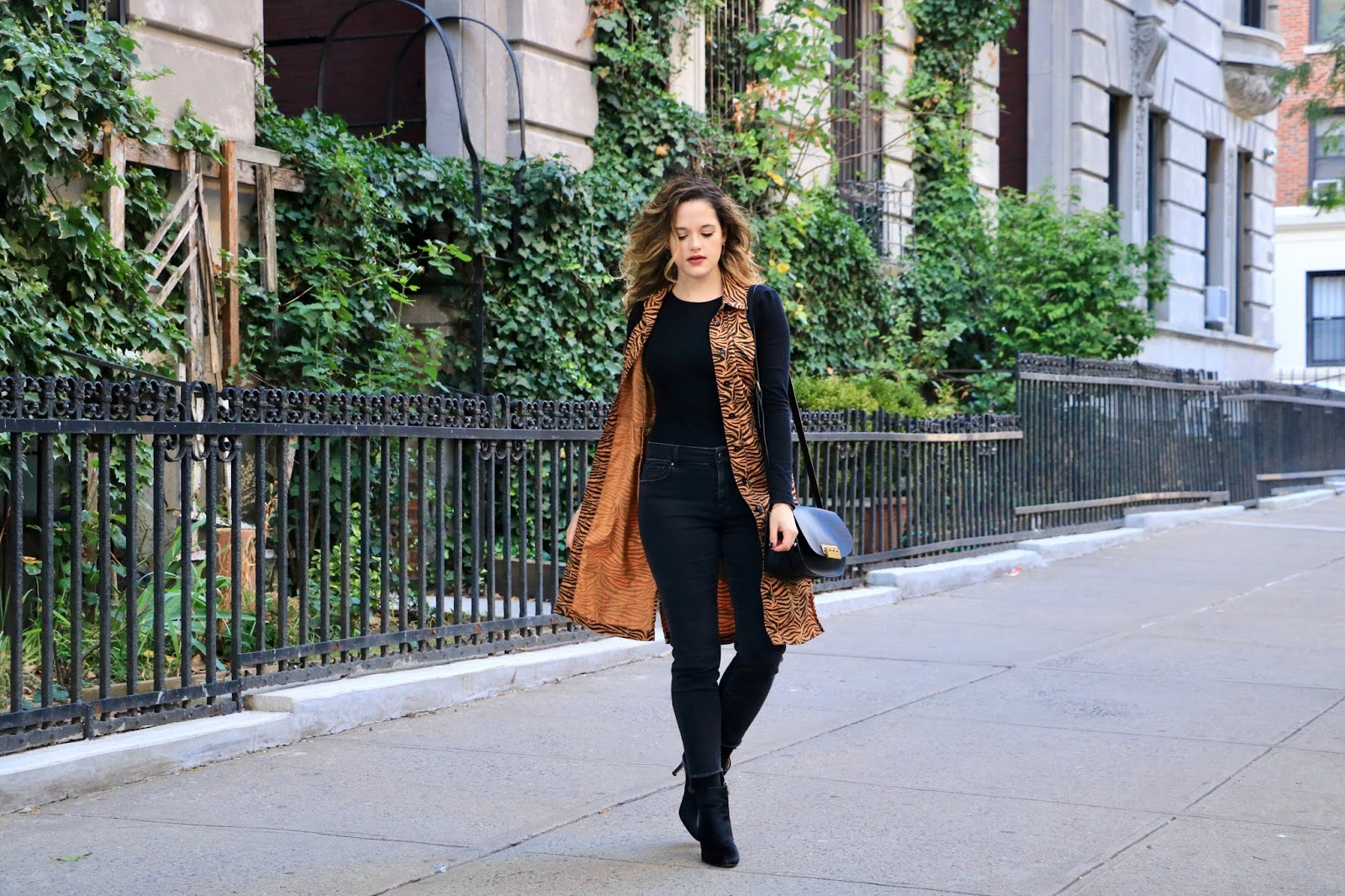 Nyc fashion blogger Kathleen Harper wearing a fall outfit idea for work and weekend.