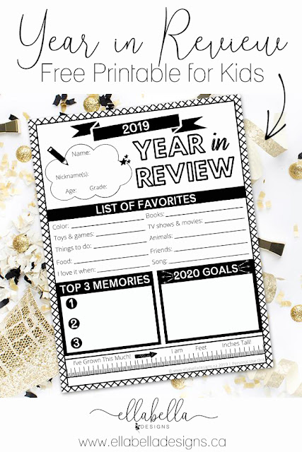 Year in Review Interview Questionnaire Printable for Kids