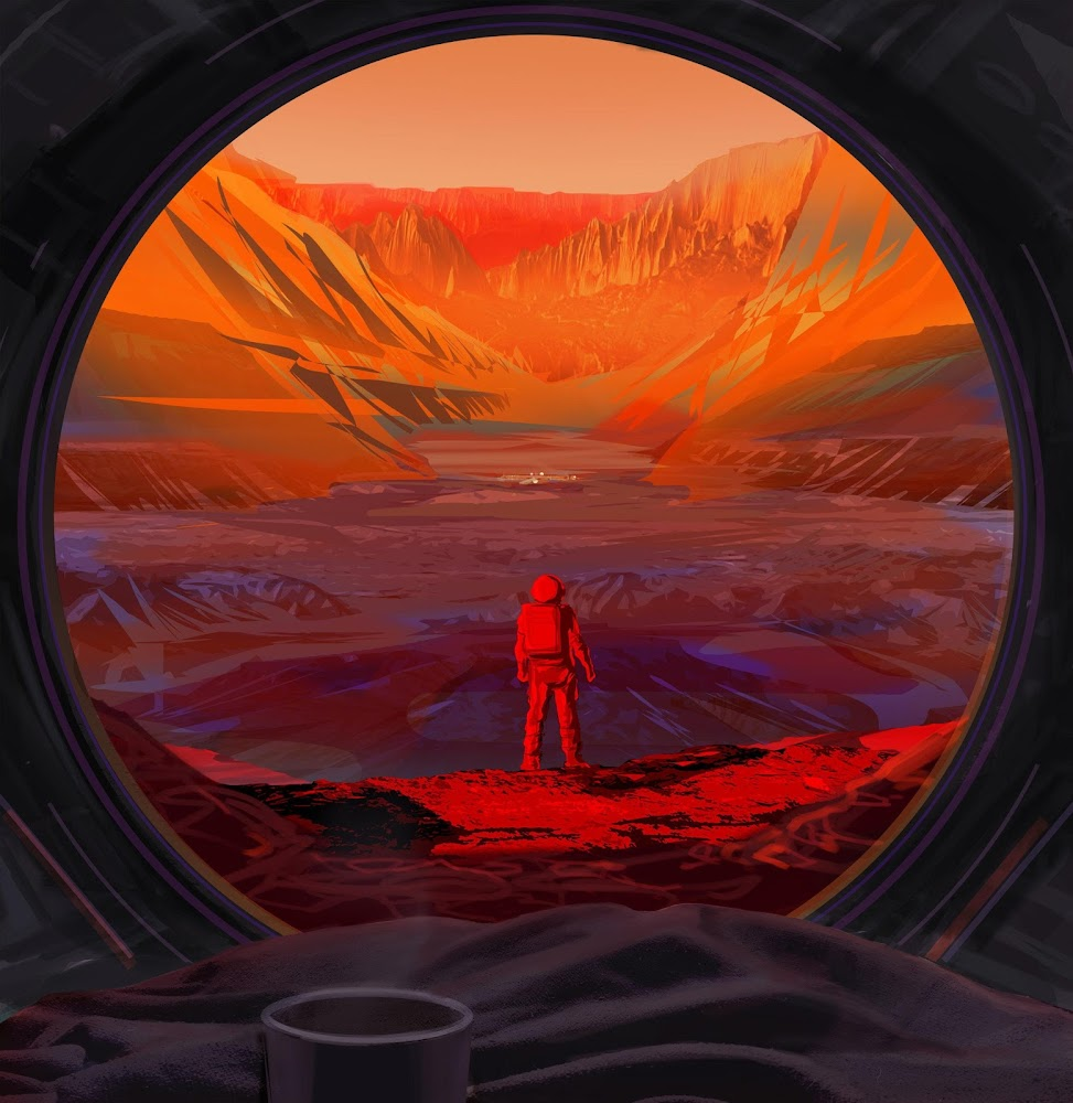 Illustration of NASA's astronaut on Mars by Joby Harris