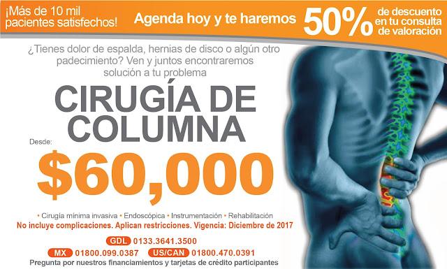 Precio de Cirugía de Columna en Guadalajara