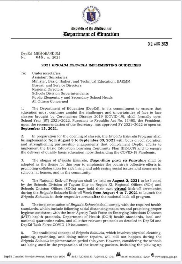 2021 BRIGADA ESKWELA IMPLEMENTING GUIDELINES