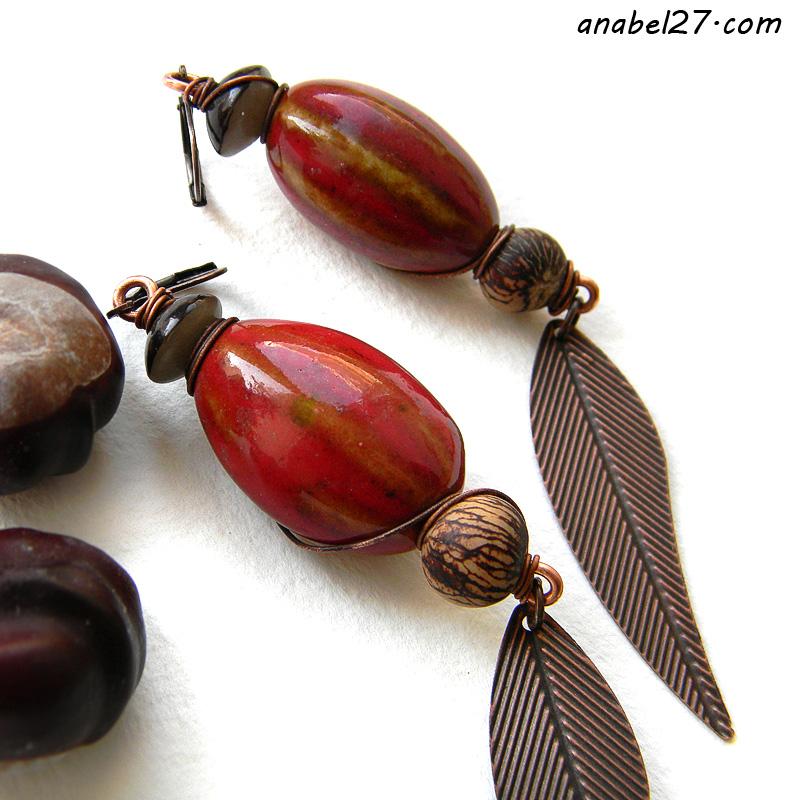 купить украшения ручной работы серьги этнические керамика красные