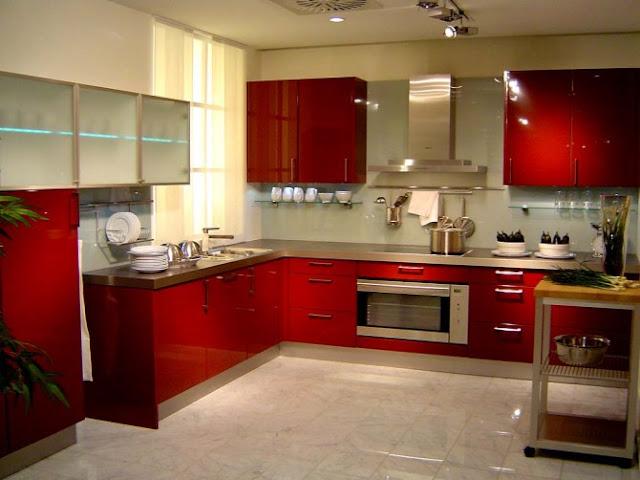dekorasi dapur warna merah