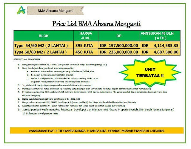 price list BMA Ahsana Menganti