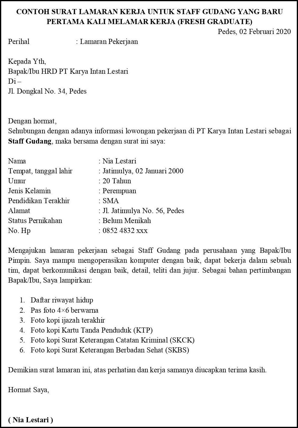 Contoh Surat Lamaran Pekerjaan Untuk Transportasi Dan Logistik Tanpa Koma
