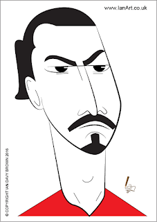 Zlatan Ibrahimovic Caricature by Ian Davy Brown