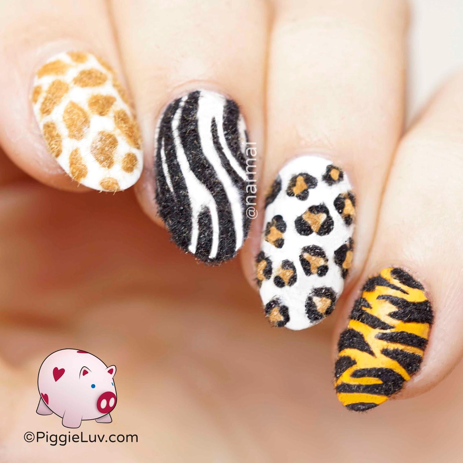 PiggieLuv: Fuzzy animal print nail art