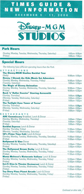 Times Guide Disney MGM Studios December 5-11 2004