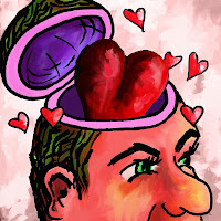 Man with hearts flying out of head