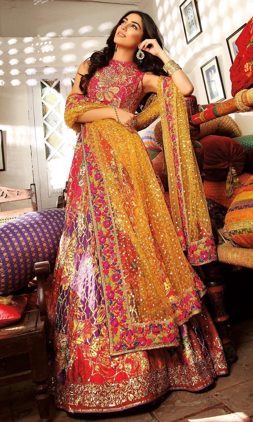 Embroidered Chiffon Pakistani Bridal Mehndi Dresses by Nomi Ansari
