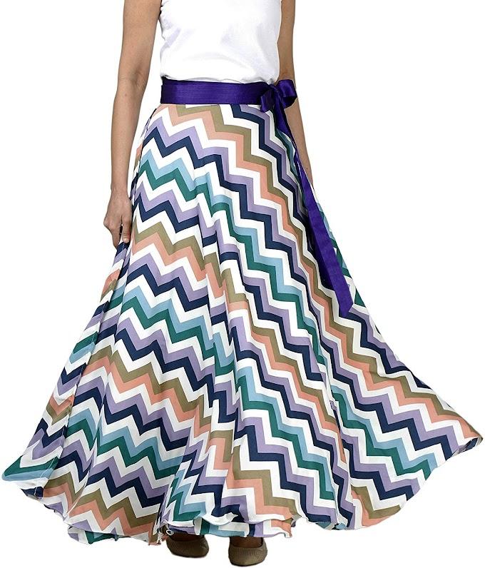 DeeVineeTi Skirts Women's Crepe Chevron Print Maxi Wrap-Around Skirt (WA000136, Multicolor, Freesize)