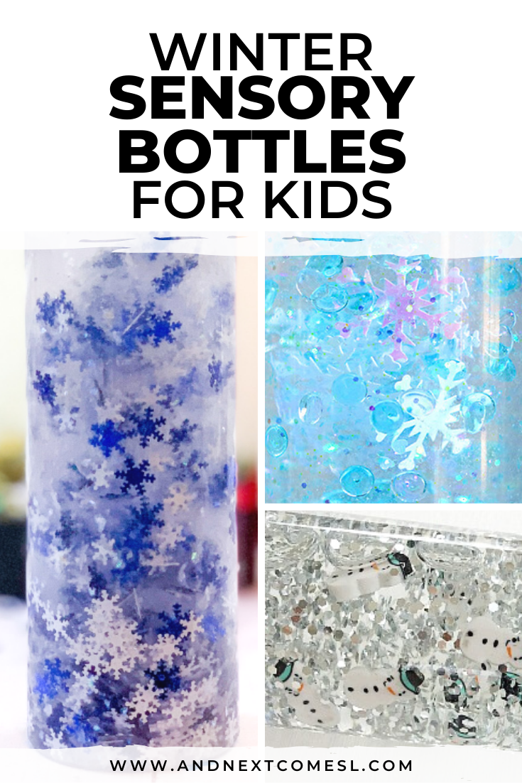 How to make winter sensory bottles for kids to put in their calm down kit