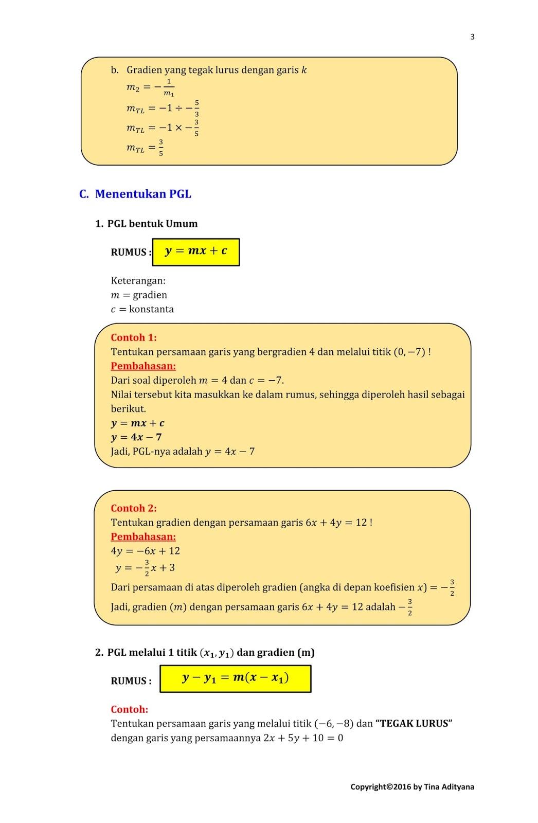 Handout Persamaan Garis Lurus Pgl Matematika Kita