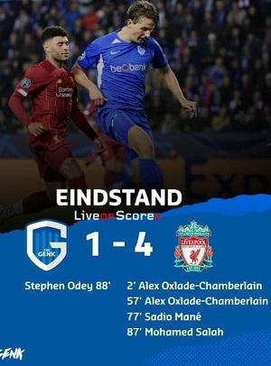 cuplikan gol liga champions genk vs liverpool 1-4