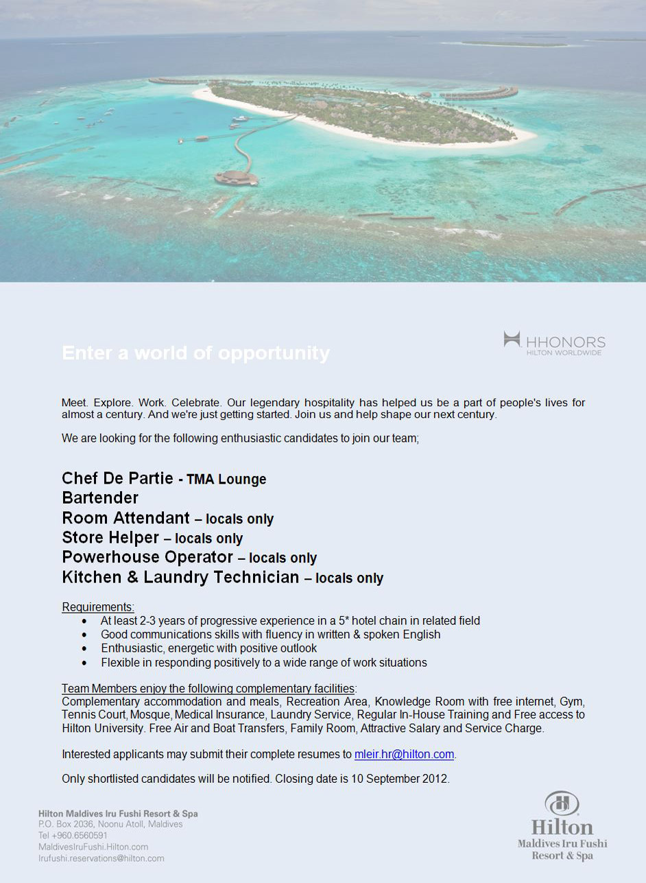 Job Maldives: Room Attendant jobs in Maldives