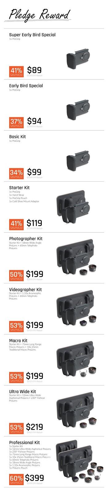 【攝影器材】手機就是專業相機,ShiftCam ProGrip 手機攝影全新體驗 - 透過募資平台,ShiftCam 提供 9 種 ProGrip 套組