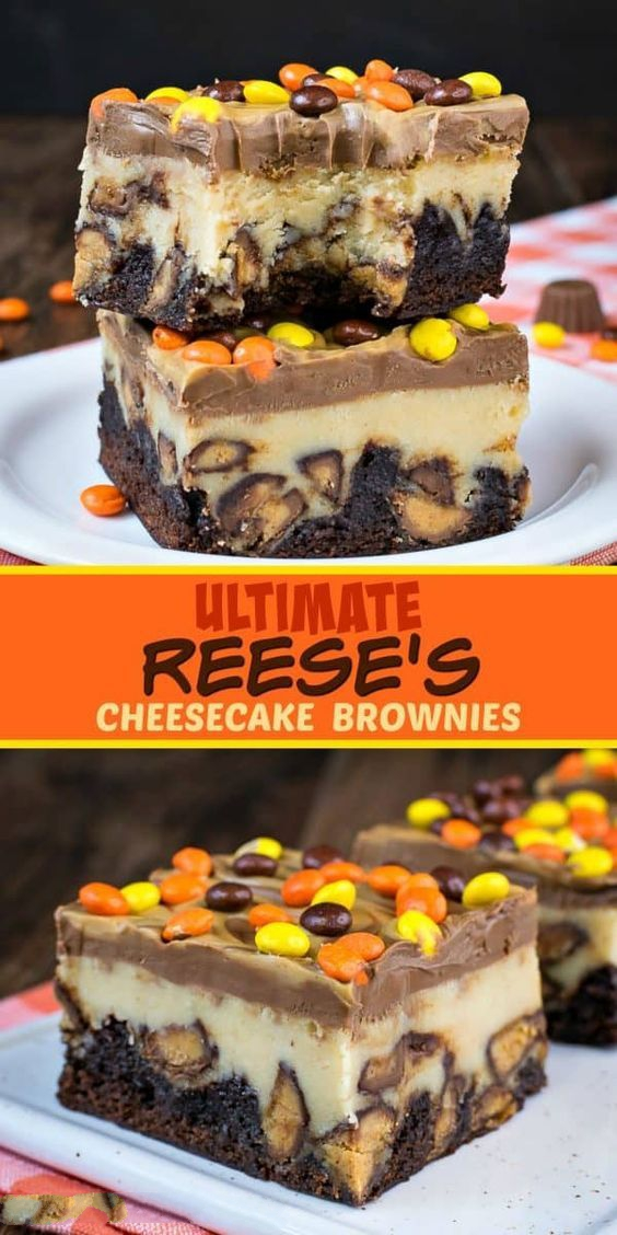 Ultimate Reese's Cheesecake Brownies - swirls of peanut butter and chocolate and lots of Reese's candies turn these cheesecake bars into the best brownies ever! Make this recipe for parties and watch everyone go nuts for them!