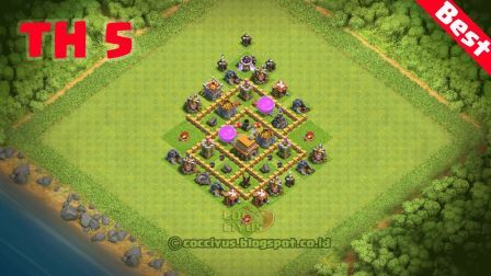 Foto Pertahanan CoC TH 5 Base Trophy