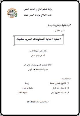 مذكرة ماستر: الحماية الجنائية للمعلومات السرية للشيك PDF