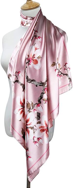 Shiny Pink Silky Satin Scarves