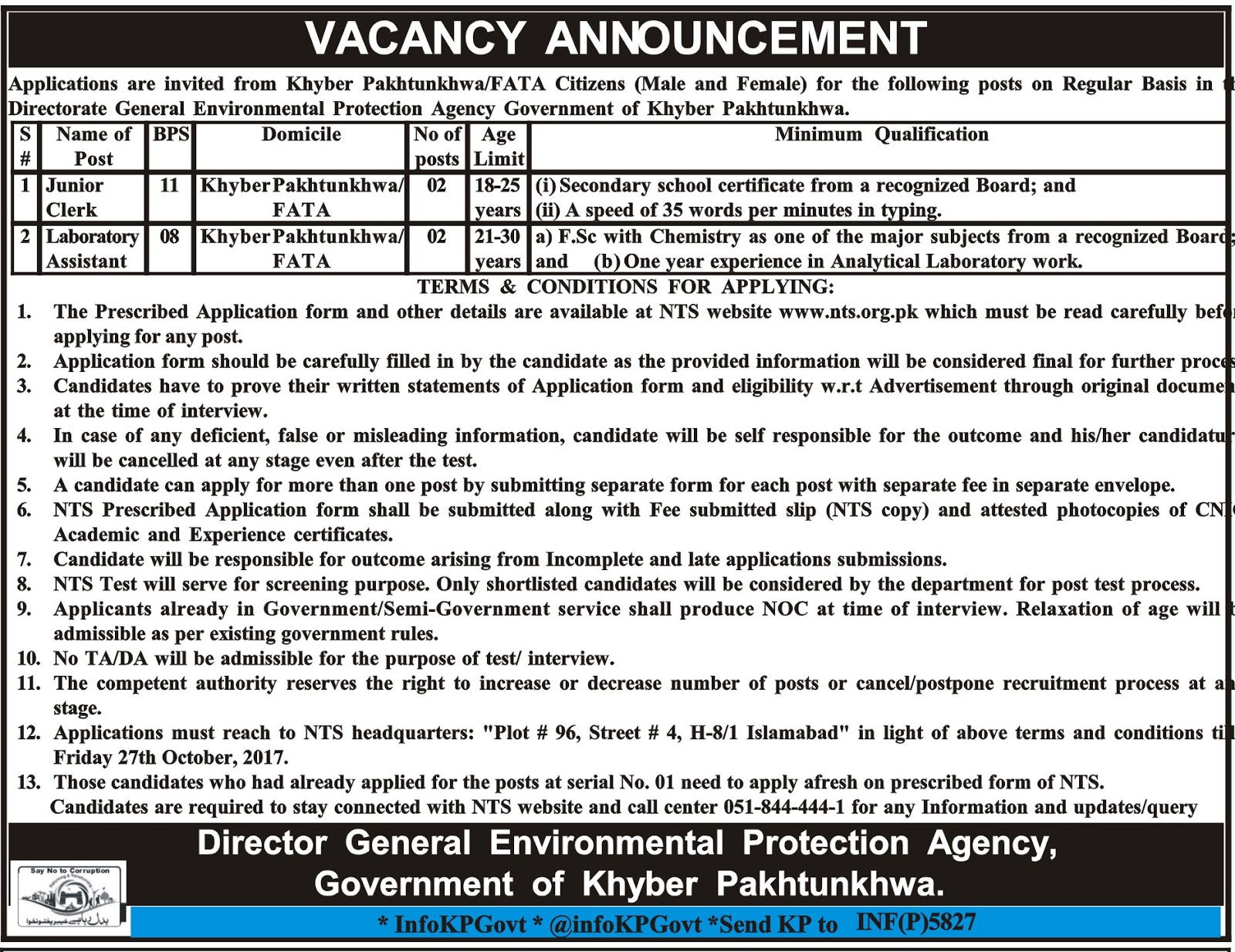 Jobs In Environmental Protection Agency Peshawar Oct 2017