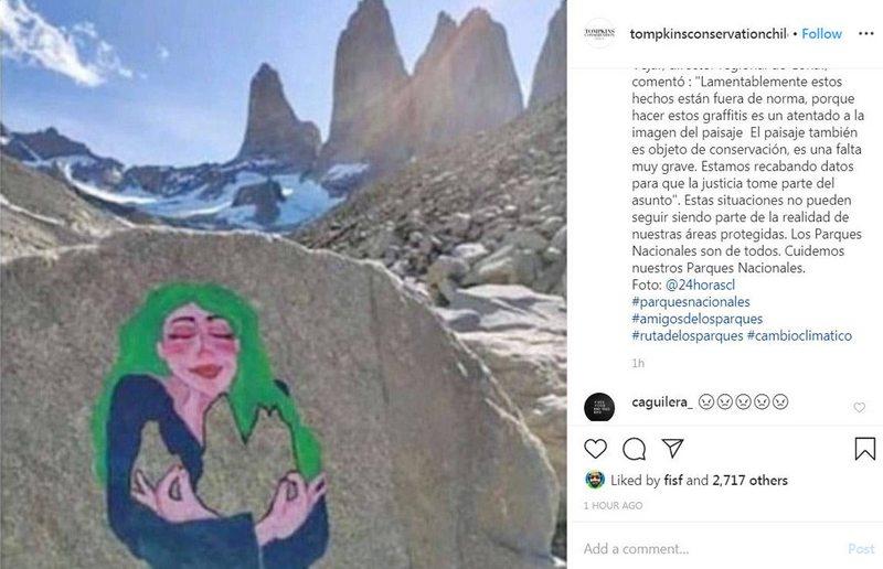 PDI detuvo a italiana  que pintó graffiti en Torres del Paine