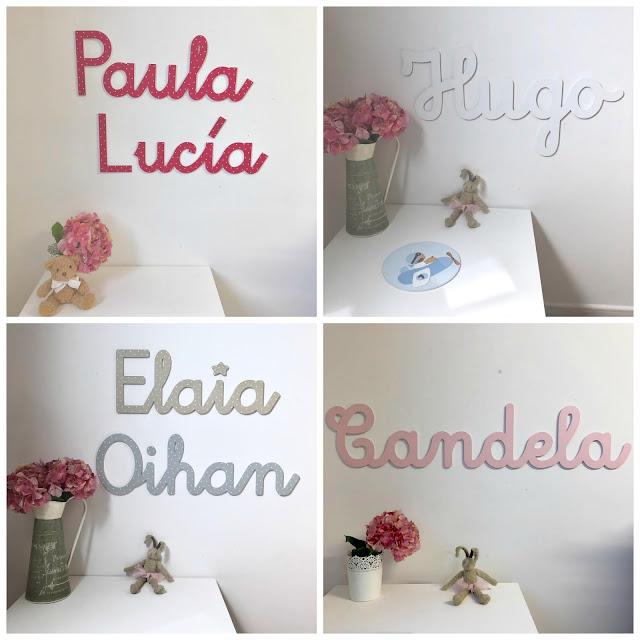 Nombres de niño y de niña ,para pegar en  la pared, decoración infantil personalizada