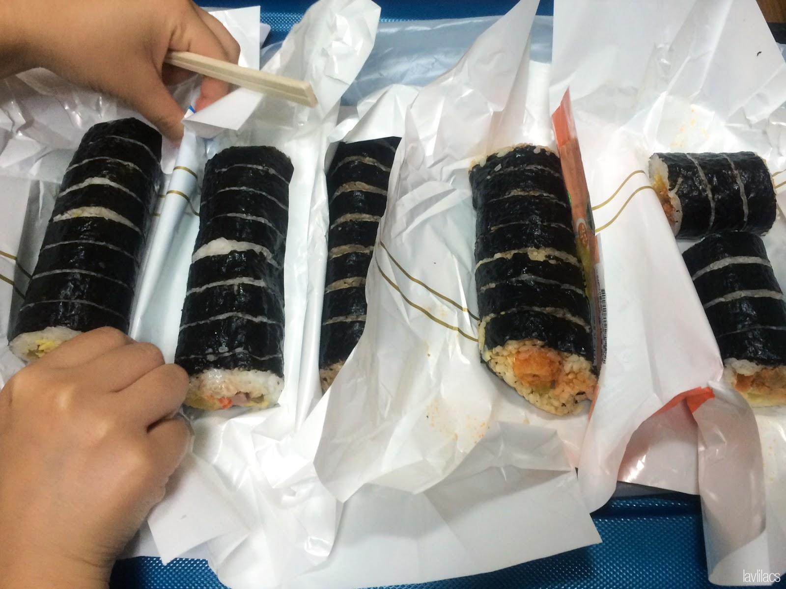 Seoul, Korea - Summer Study Abroad 2014 - Midnight snacking on convenience store kimbap