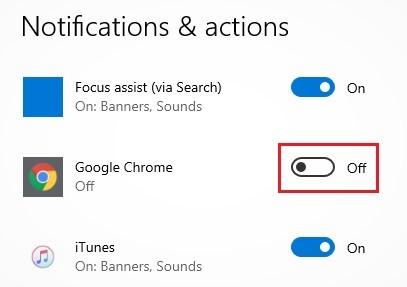 tombol untuk meyalakan notifikasi Chrome ke Windows 10