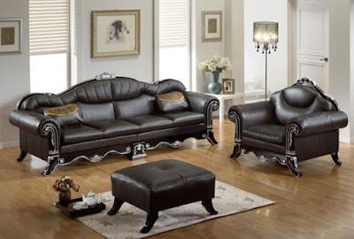 sofa tamu kulit warna hitam mewah