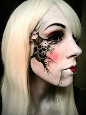Steampunk special fx broken doll makeup. Cracked and broken dolll reveals gears beneath her skin.