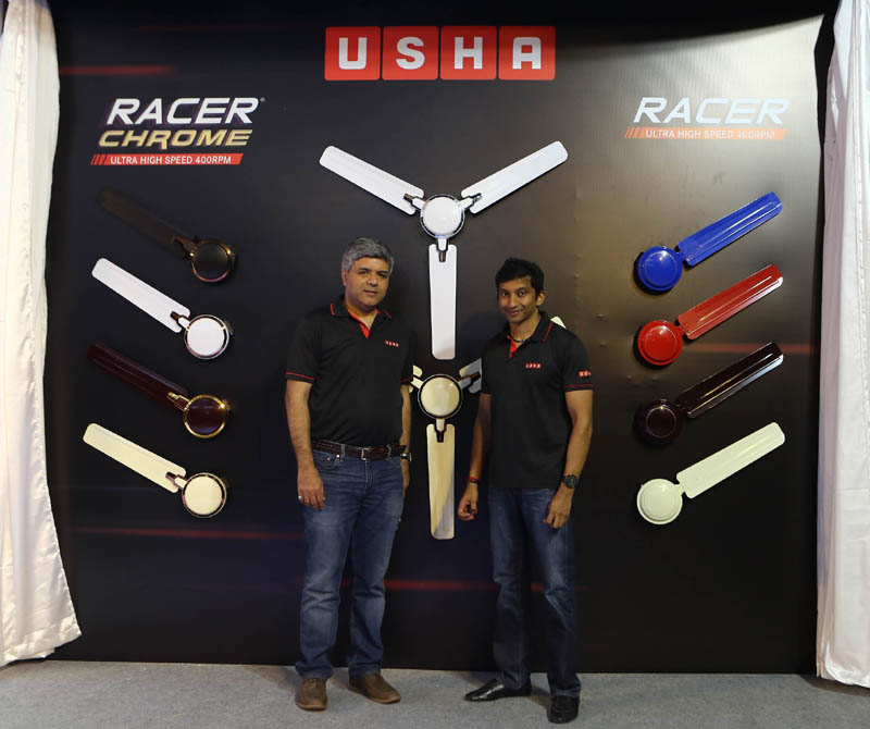 Usha brand ambassador, Narain Karthikeyan and Rohit Mathur , President, Electric fans and pumps , Usha International at the launch event of Racer Chrome fans