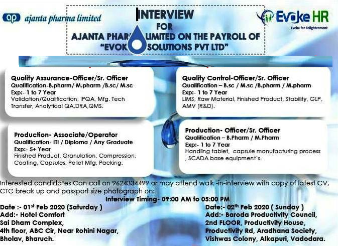 Ajanta Pharma Limited - Walk-In Interview for QA / QC / Production / Operators on 2nd Feb' 2020