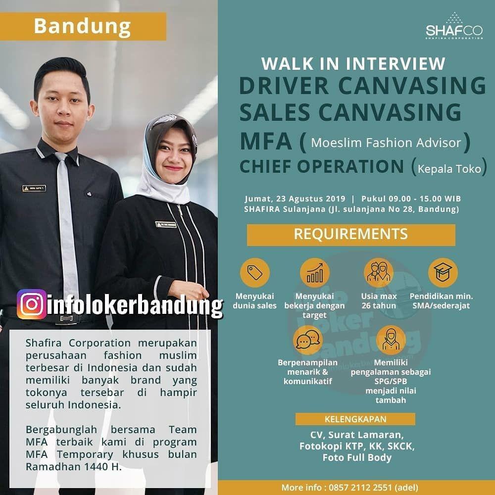 Lowongan Kerja Shafira Corporation ( Shafco ) Walk In Interview 23 Agustus 2019
