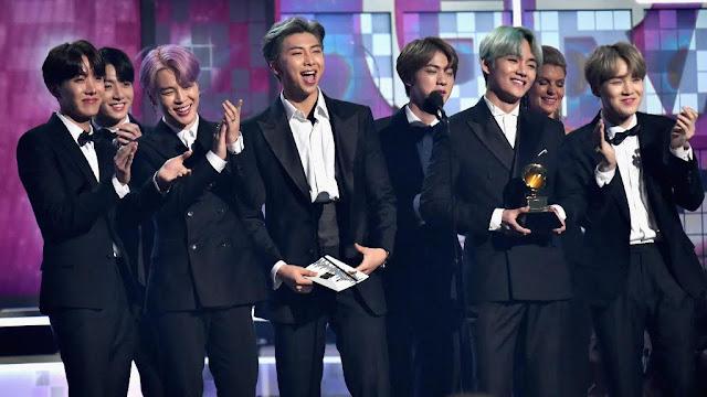 BTS presenting grammy award