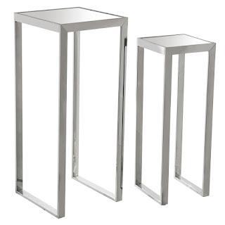 Juego de 2 pedestales en acero inoxidable y cristal