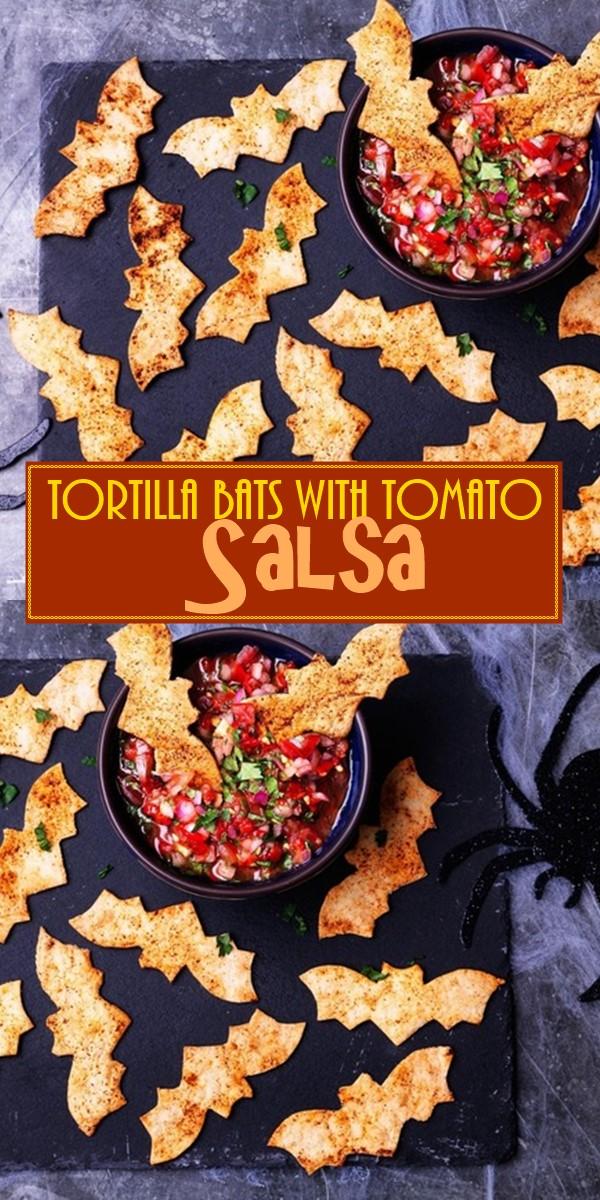 Tortilla Bats With Tomato Salsa #halloweenrecipes
