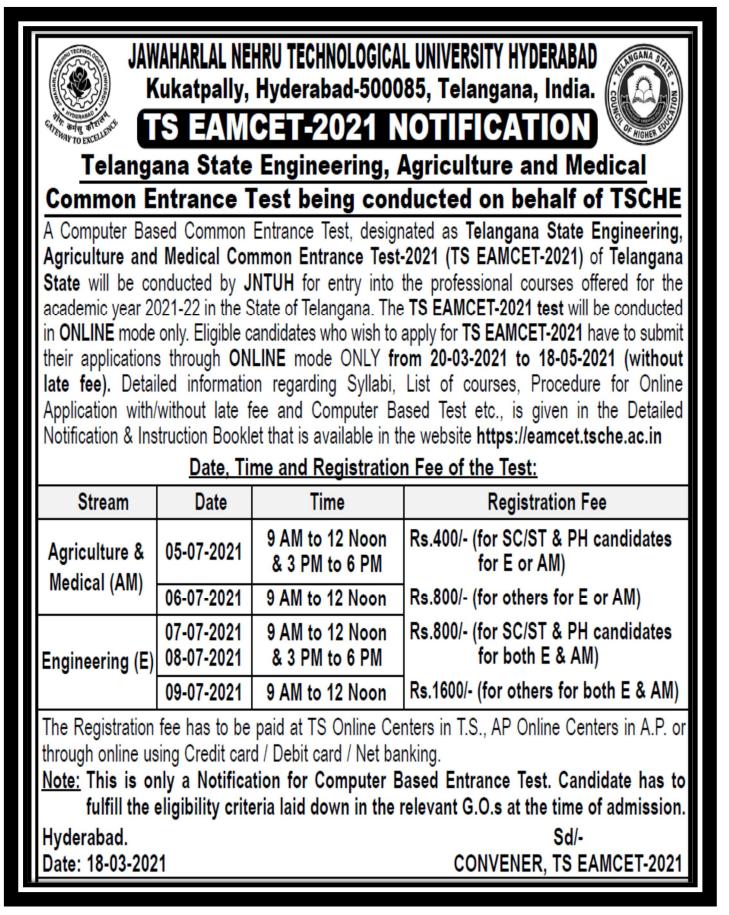 Telangana Eamcet 2021 Notification