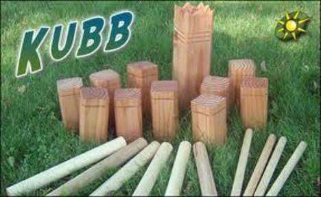 Kubb-spel blå