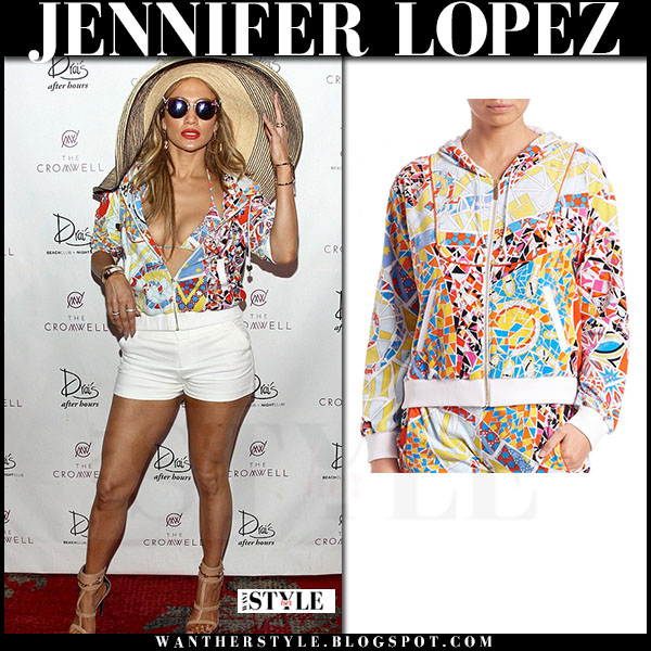 Jennifer Lopez in bright mosaic print emilio pucci zip jacket, white shorts and beige sandals