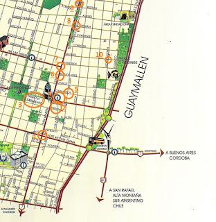 Leste da Cidade de Mendoza (Mapa Turístico)